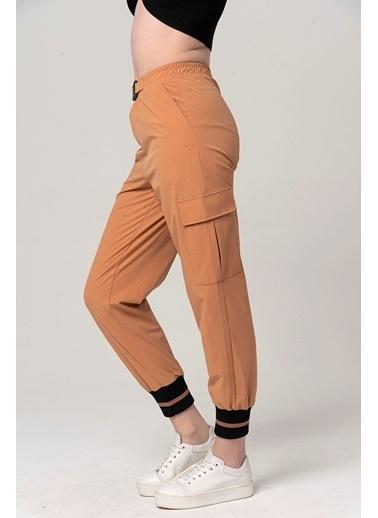 Coral Kargo Paçası Ribanalı Pantolon Camel Camel
